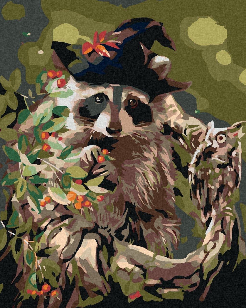 Malowanie po numerach - Szop w kapeluszu i sowa