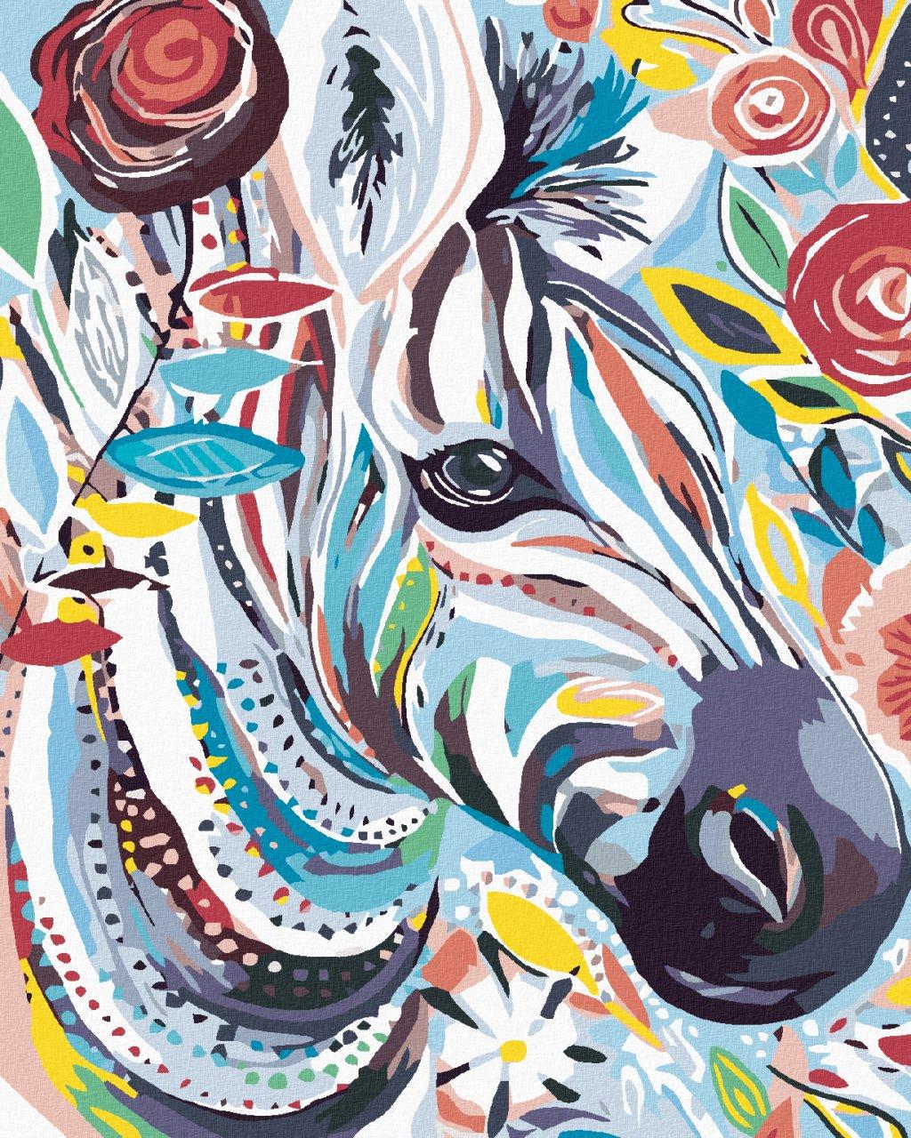 Malowanie po numerach – Zebra w kwiaty