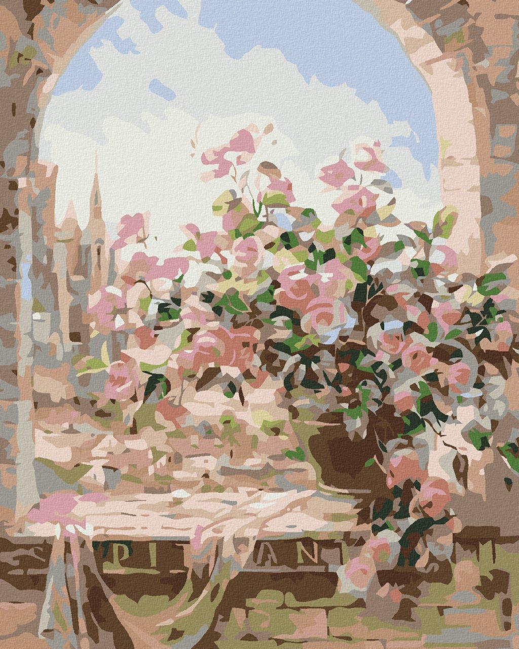 Malowanie po numerach - Kwiaty w oknie