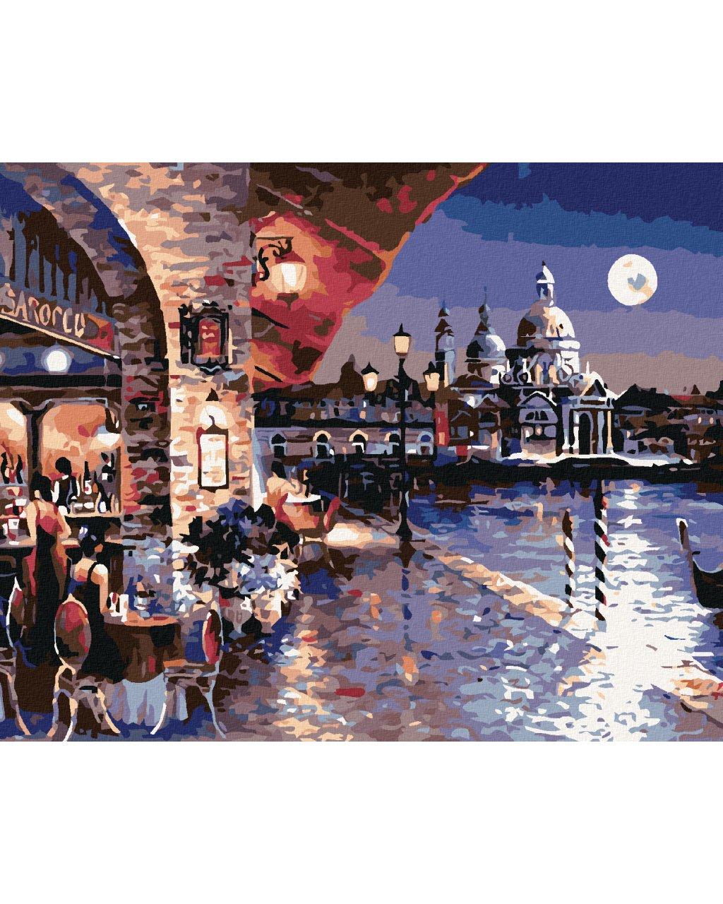 Malowanie po numerach – Kawiarnia w nocnej Wenecji