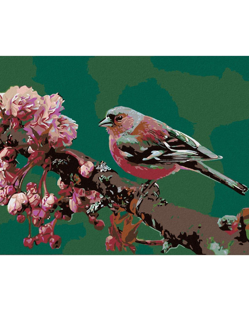 Malowanie po numerach – Ptaszek na kwitnacej wiśni