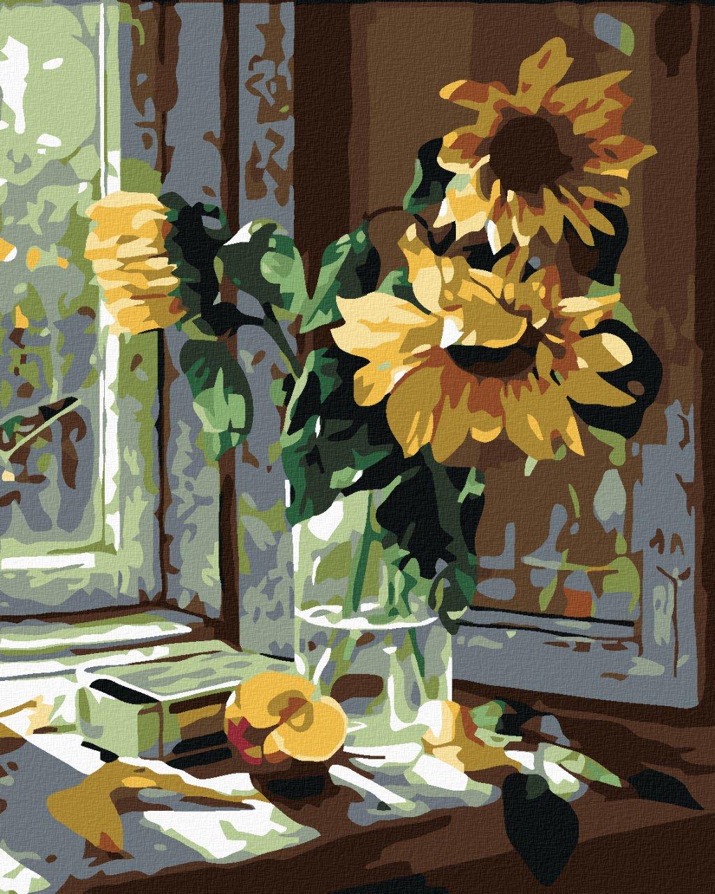 Malowanie po numerach – Słoneczniki na oknie