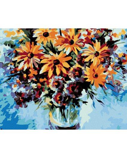 Malowanie po numerach – Bukiet kwiatów na niebieskim tle