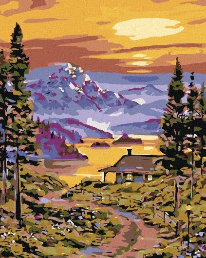 Malowanie po numerach – Górska chata nad jeziorem i zapad słońca