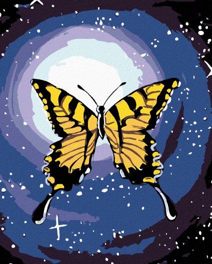 Malowanie po numerach - Motyl na tle księżyca