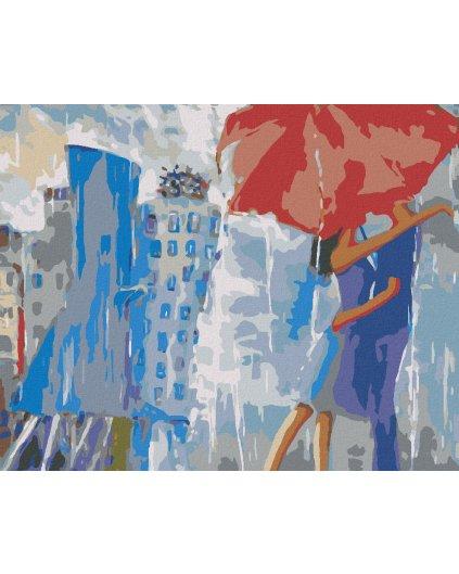 Malowanie po numerach – Pod parasolem w deszczowym mieście