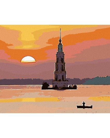 Malowanie po numerach – Samotny rybak i zachód słońca