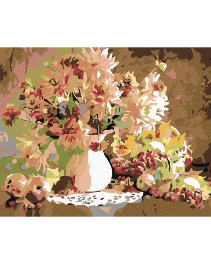 Malowanie po numerach – Martwa natura - bukiet w wazonie i owoce