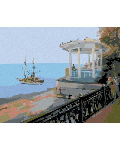 Malowanie po numerach – Altanek na morzem i żaglówka