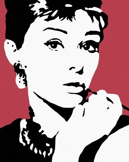 Malowanie po numerach - Audrey Hepburn Cigarello na czerwonym tle