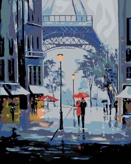 Malowanie po numerach - Wieża Eiffla  w deszczu