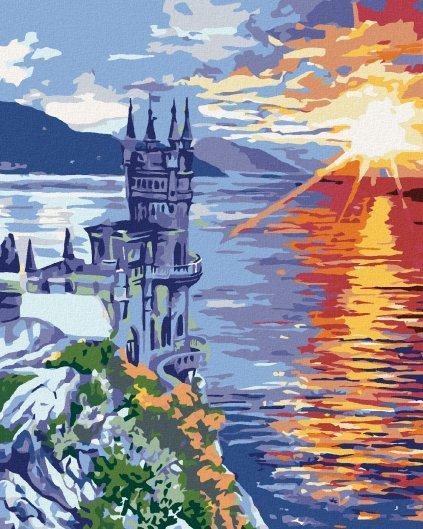 Malowanie po numerach - Zamek na skale i zachód słońca