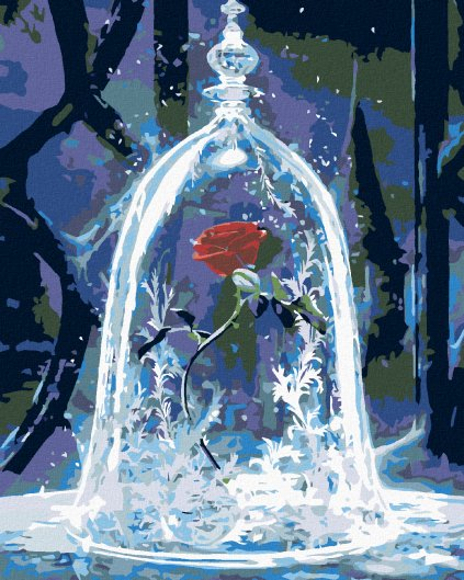 Malowanie po numerach – Piękna i Bestia – magiczna róża