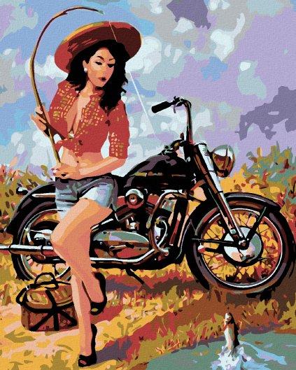Malowanie po numerach – Kobieta łowiaca ryby z motocyklem