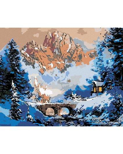 Malowanie po numerach – Górska chata zimą