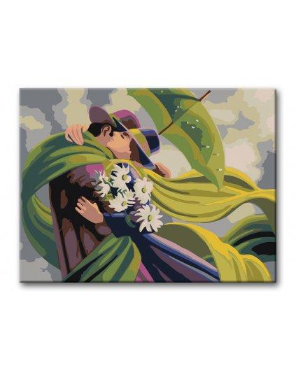 Malowanie po numerach - Uścisk pod zielonym parasolem