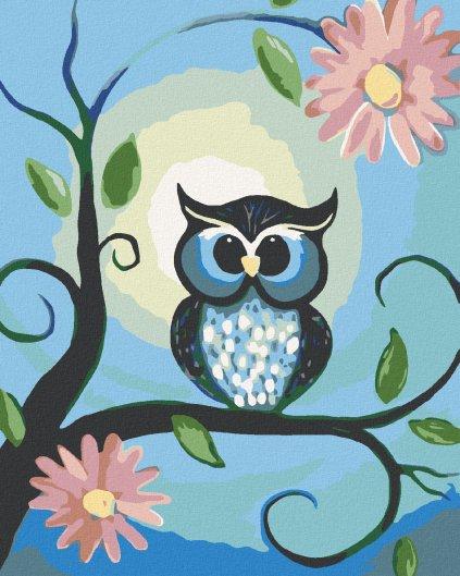 Malowanie po numerach – Niebieska sowa i kwiaty