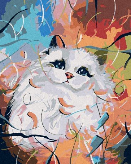 Malowanie po numerach – Biała kotka i kolorowe tło