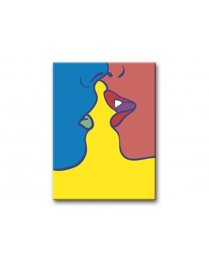 Malowanie po numerach – Niebiesko-czerwony pocałunek