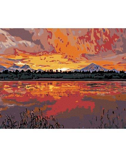Malowanie po numerach - Zachód słońca nad jeziorem w górach