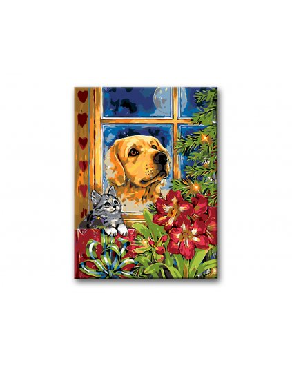 Malowanie po numerach – Pies z kotem na Boże Narodzenie