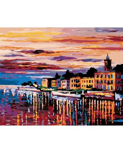 Malowanie po numerach - Zachód słońca nad miastem