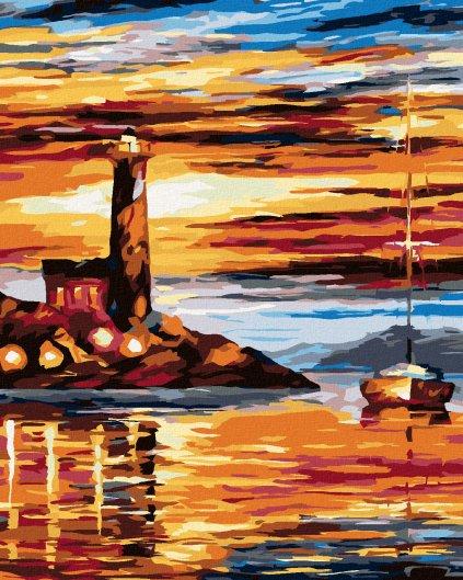 Malowanie po numerach - Latarnia morska i żeglówka w zachodzie słońca