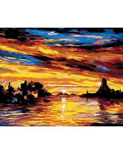 Malowanie po numerach – Zatoka o zachodzie słońca