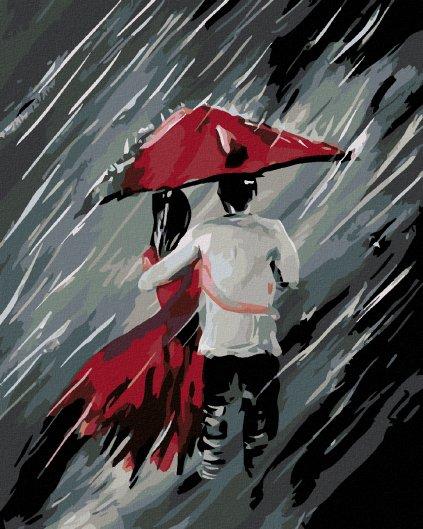 Malowanie po numerach – Zakochani pod parasolem w deszczu