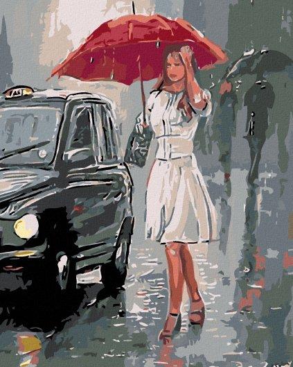 Malowanie po numerach – Kobieta w deszczu
