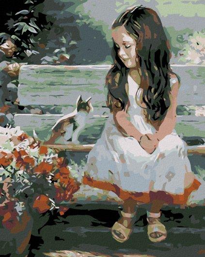 Malowanie po numerach - Mała dziewczynka z kotkiem