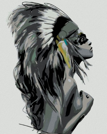 Malowanie po numerach – Kobieta w pióropuszu