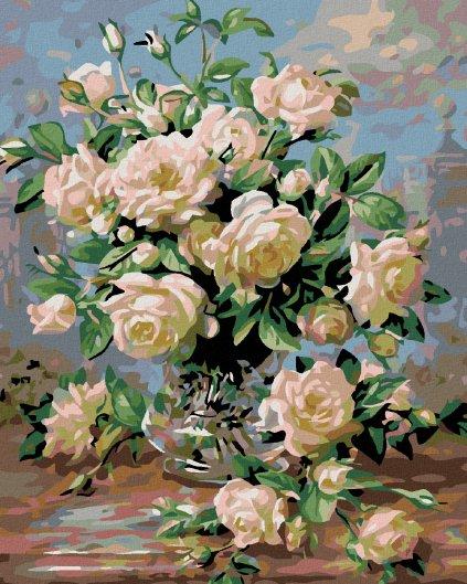 Malowanie po numerach - Bukiet białych róż