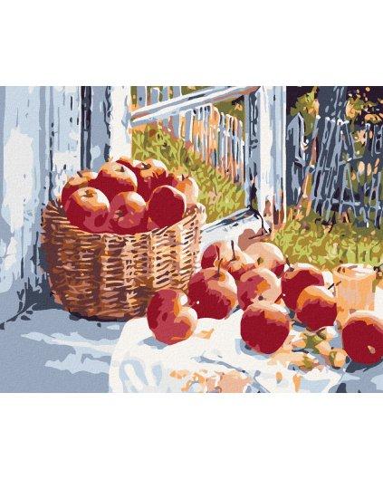 Malowanie po numerach - Kosz z jabłkami na oknie