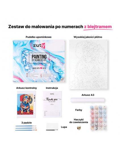 Malowanie po numerach - Kot w okulary z czerwoną kokardą
