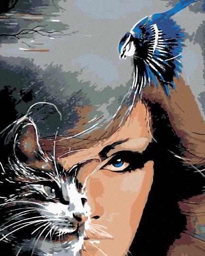 Malowanie po numerach – Kobieta z kotem i niebieski ptak