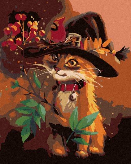 Malowanie po numerach - Kotek w kapeluszu