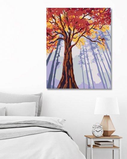 Malowanie po numerach - Wysokie jesienne drzewo