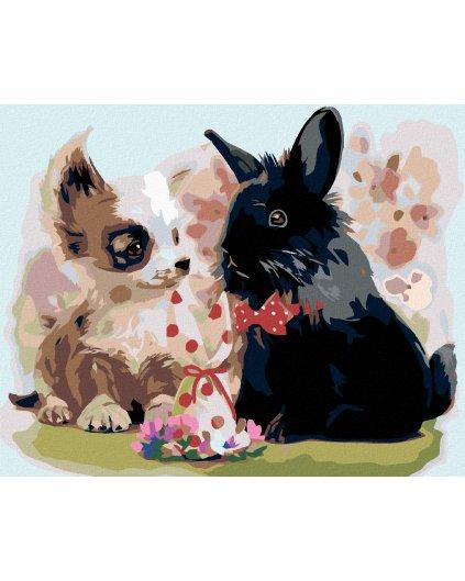 Malowanie po numerach – Szczenie i królik