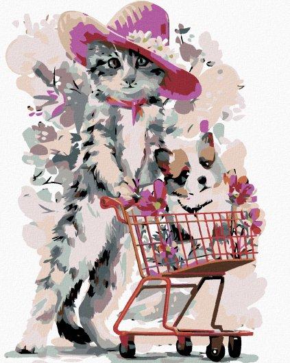 Malowanie po numerach – Kot na zakupach