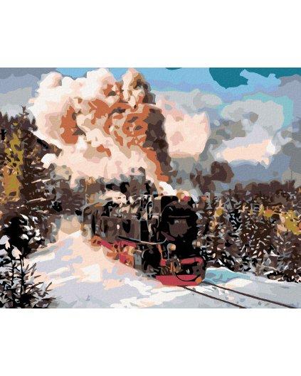 Malowanie po numerach - Lokomotywa w zimowym krajobrazie