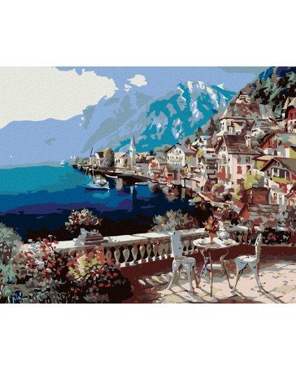 Malowanie po numerach – Kawiarenka na tarasie z widokiem na góry i jezioro