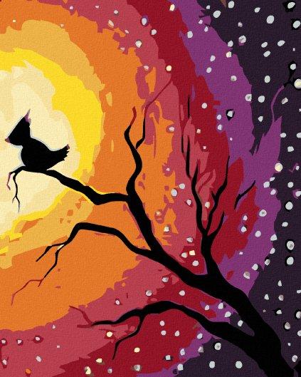 Malowanie po numerach - Ptak na gałęzi na nocnym niebie
