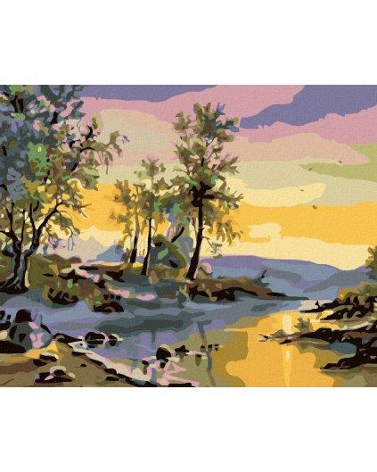 Malowanie po numerach - Zachód słońca nad rzeką