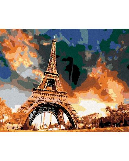 Malowanie po numerach - Wieża Eiffla i kolorowe niebo
