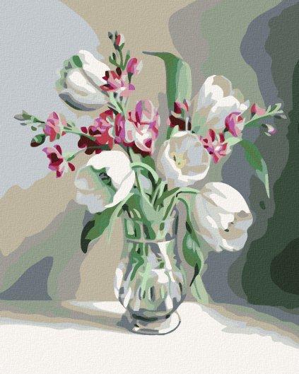 Malowanie po numerach – Białe tulipany i frezje