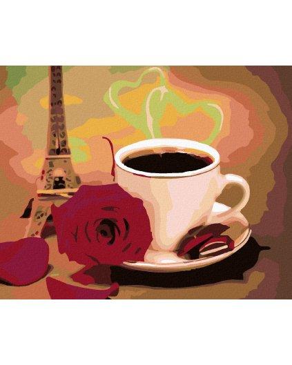 Malowanie po numerach - Biały kubek kawy z różami i wieża Eiffla