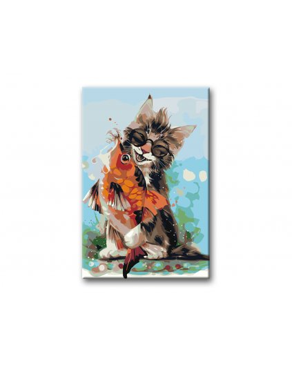 Malowanie po numerach – Kot i złota rybka