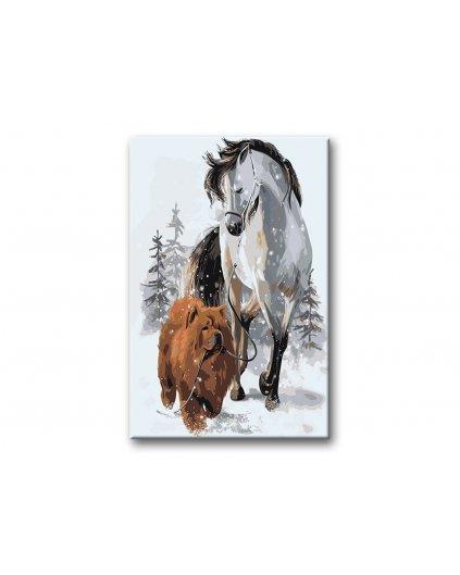 Malowanie po numerach - Brązowy koń i chow chow