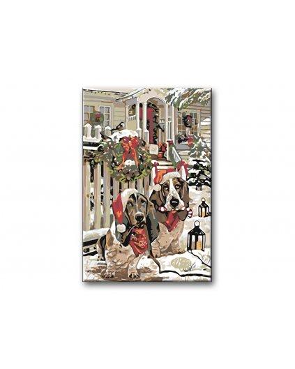Malowanie po numerach - Bożonarodzeniowy Basset